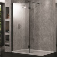 Clear Glass Wetroom 10 Enclosures with Matt Black Wall Profiles