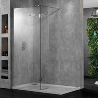 Clear Glass Wetroom 10 Enclosures with Polished Silver Wall Profiles