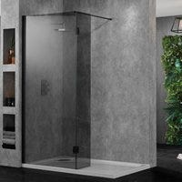 Smoked Glass Wetroom 10 Enclosures with Matt Black Wall Profiles