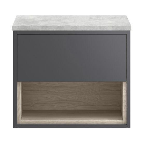 Hudson Reed Coast 800mm Open Shelf Wall Hung Cabinet & Grey Worktop - Gloss Grey/Driftwood