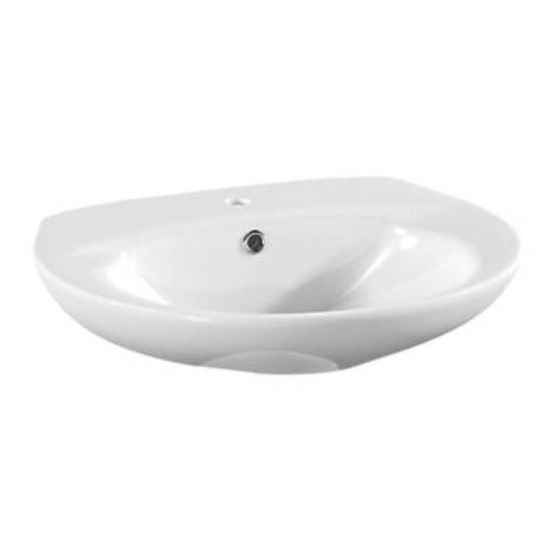 Ceramic 1TH Wall Hung Cloakroom Basin 450mm - White