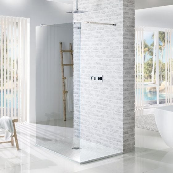 MX Minerals Ice White Square Slate Effect Slim Shower Tray 800mm x 800mm