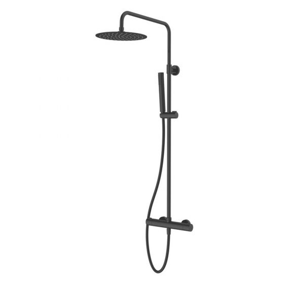 Vema Thermostatic Bar Shower Mixer with Riser Kit & Fixed Head - Matt Black