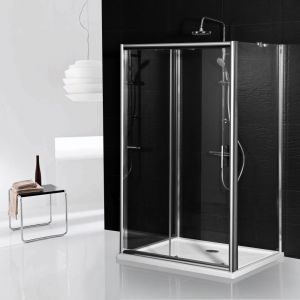 Aqua-I 3 Sided Shower Enclosure - 1000mm Sliding Door and 760mm Side Panels