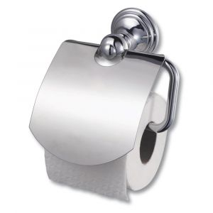 Allure Chrome Toilet Roll Holder with Lid