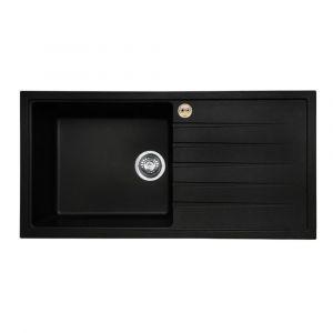 Bristan Gallery Quartz Sink 1 Bowl 1000mm Black Right Hand