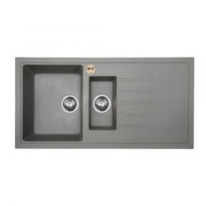 Bristan Gallery Quartz Sink 1.5 Bowl 1000mm Dawn Grey Right Hand
