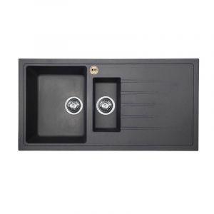 Bristan Gallery Quartz Sink 1.5 Bowl 1000mm Midnight Grey Right Hand