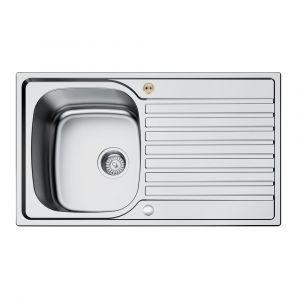 Bristan Inox Sink Top 1 Bowl Round Steel Universal 860mm
