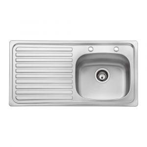 Bristan Inox Sink Top 2 Tap Hole 1 Bowl Round Steel 930mm Left Hand