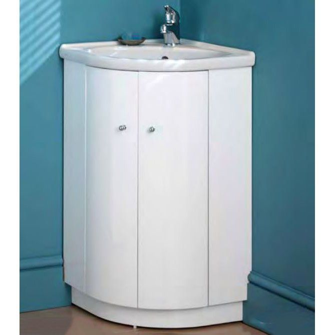 Eastbrook Bonito 465mm 2 Door Corner Vanity Unit With 1 Th Basin White 1 087 26 0087 Plumbing World
