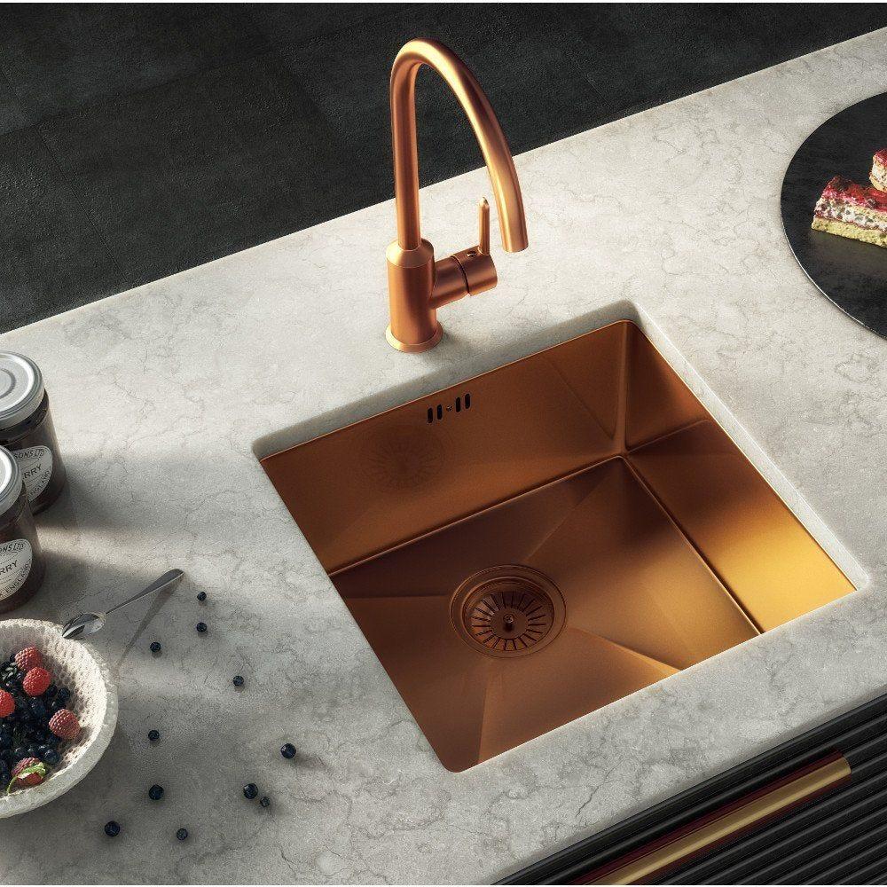 Ellsi Elite Single Bowl Inset Undermounted Stainless Steel Kitchen Sink Waste Copper