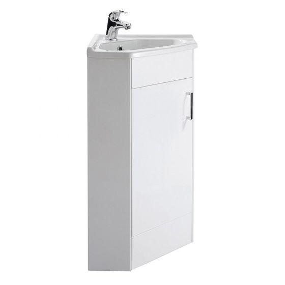 Premier Mayford 1 Door Corner Cabinet & Basin - Gloss White