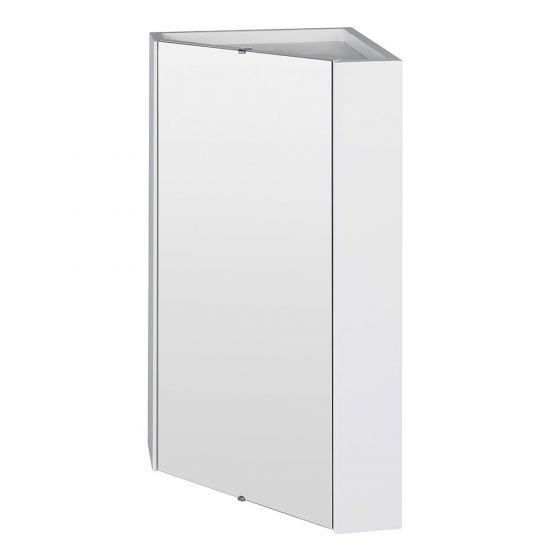 Nuie Mayford 1 Door Corner Mirror Cabinet - Gloss White