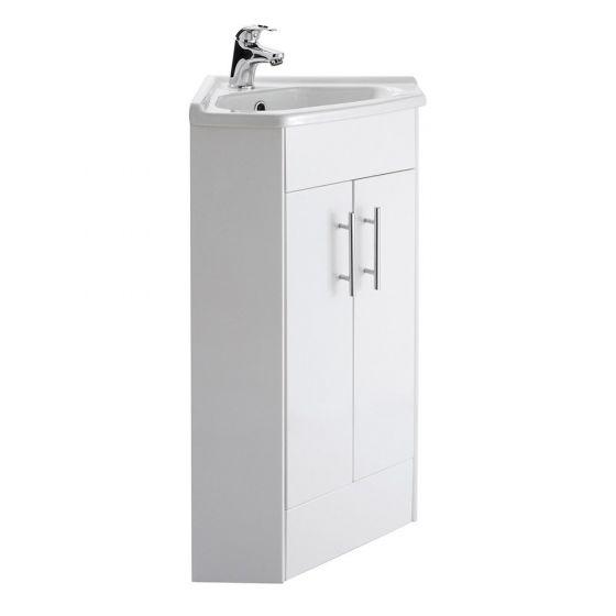 Premier Mayford 2 Door Corner Cabinet & Basin - Gloss White
