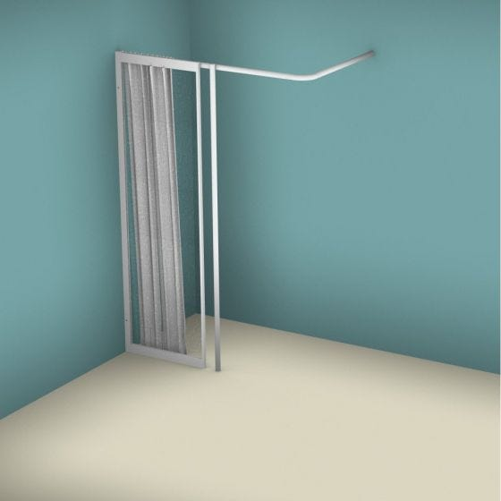 Contour WFX Full Height Fixed Panel with Vertical Curtain Rail Support Pole - Left Handed