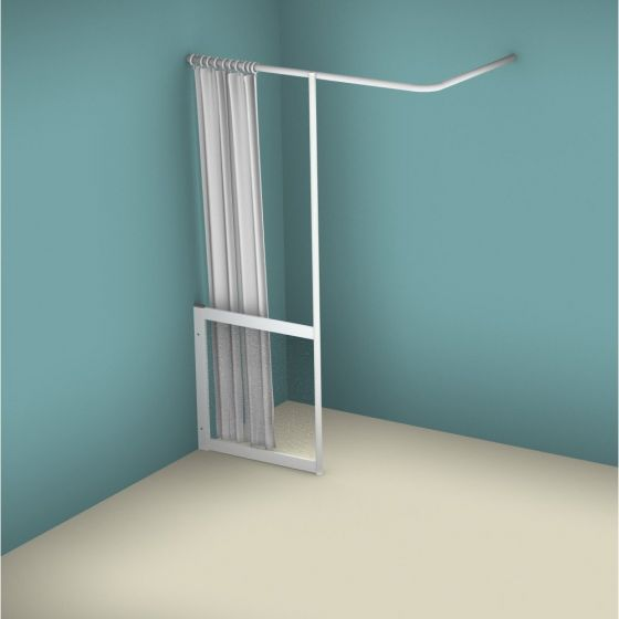 Contour WFY Half Height Fixed Panel with Vertical Curtain Rail Support Pole - Left Handed