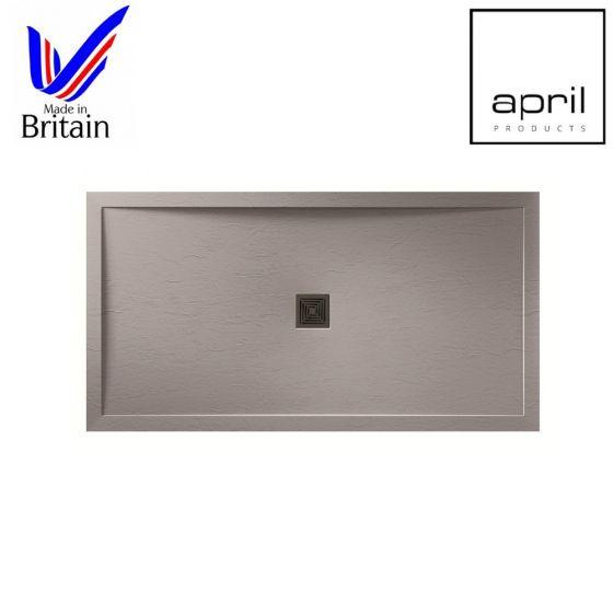 April Waifer Anti-Slip 1600mm x 800mm Slate Effect Shower Tray Grey
