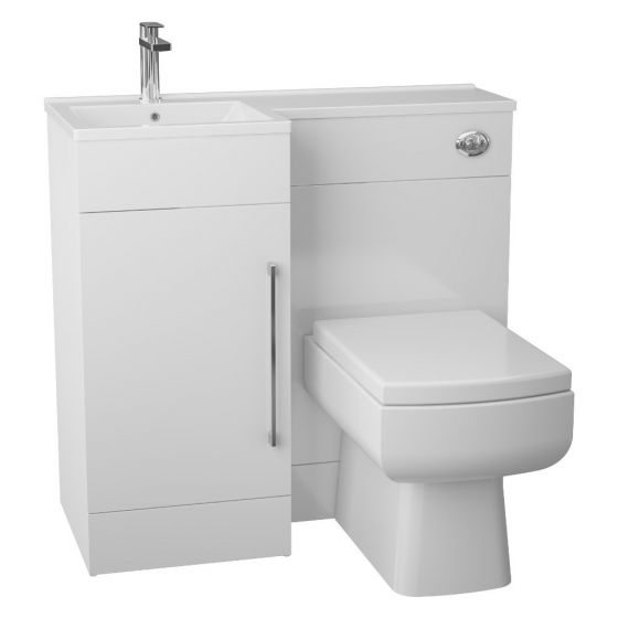 Cassellie Maze Compact White Gloss L Shaped Basin Unit & Toilet Suite