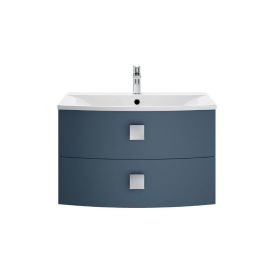 Hudson Reed Sarenna 700mm Wall Hung Cabinet & Basin - Mineral Blue