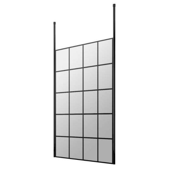 Hudson Reed Walk-In 8mm Wetroom Screen with Double Ceiling Post 1100mm - Black Frame