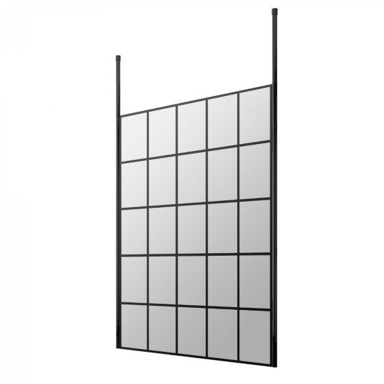 Hudson Reed Walk-In 8mm Wetroom Screen with Double Ceiling Post 1400mm - Black Frame