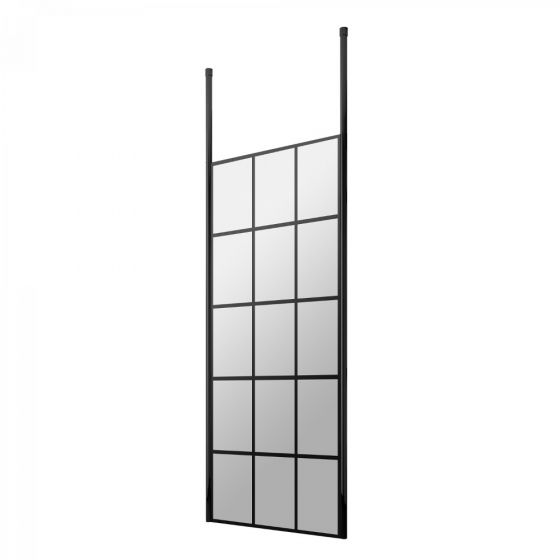 Hudson Reed Walk-In 8mm Wetroom Screen with Double Ceiling Posts 760mm - Black Frame