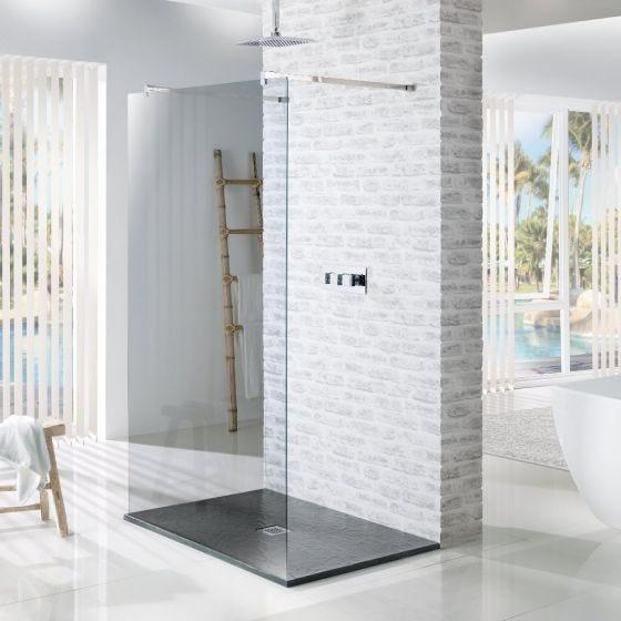 MX Minerals Ash Grey Square Slate Effect Slim Shower Tray 800mm x 800mm