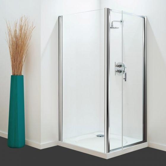 Optima Pivot Door White - Clear Glass - 760mm