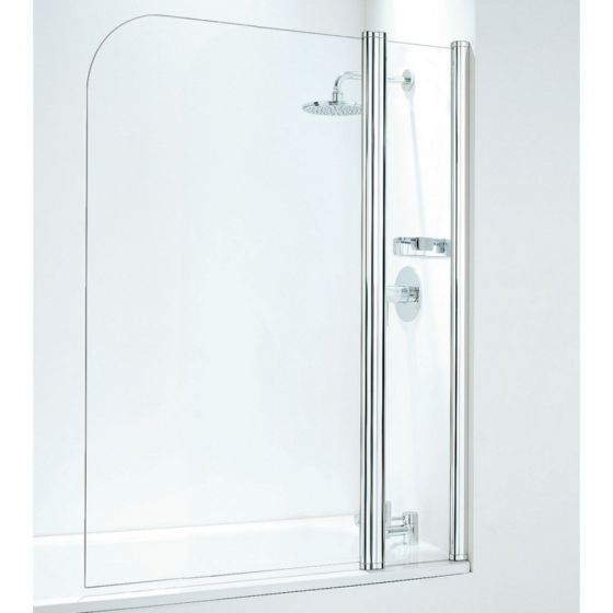 Coram 800mm Compact Curved Bathscreen with panel - White