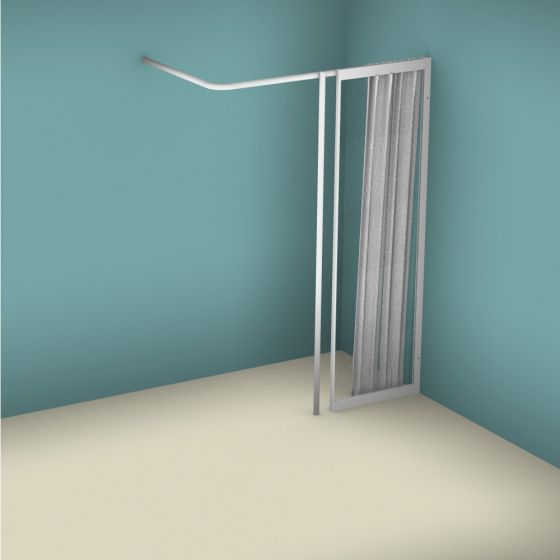 Contour WFX Full Height Fixed Panel with Vertical Curtain Rail Support Pole - Right Handed