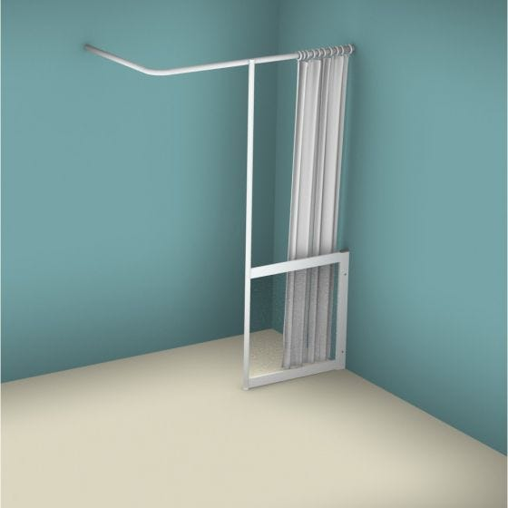 Contour WFY Half Height Fixed Panel with Vertical Curtain Rail Support Pole - Right Handed