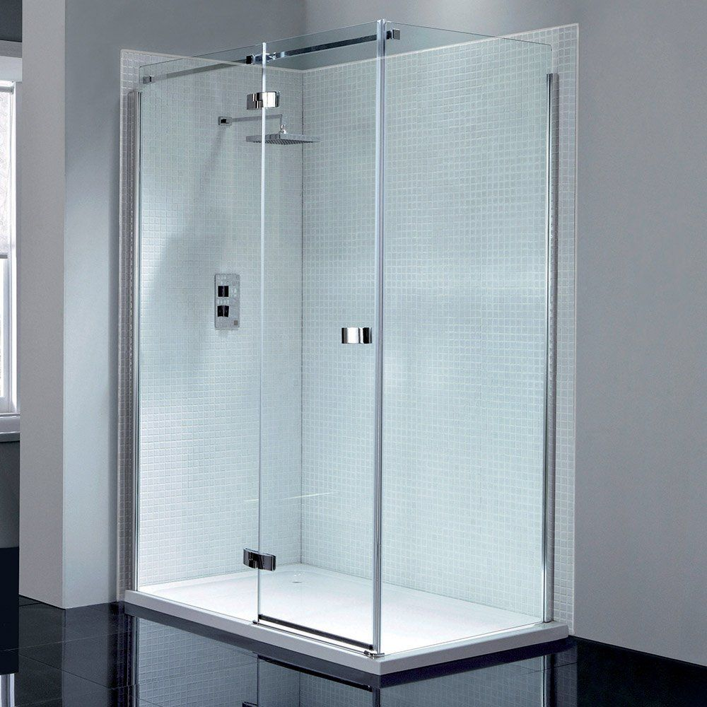 Frameless Hinged Shower Door And Panel.April Prestige Frameless Hinge Shower Door 1000mm Left Hand