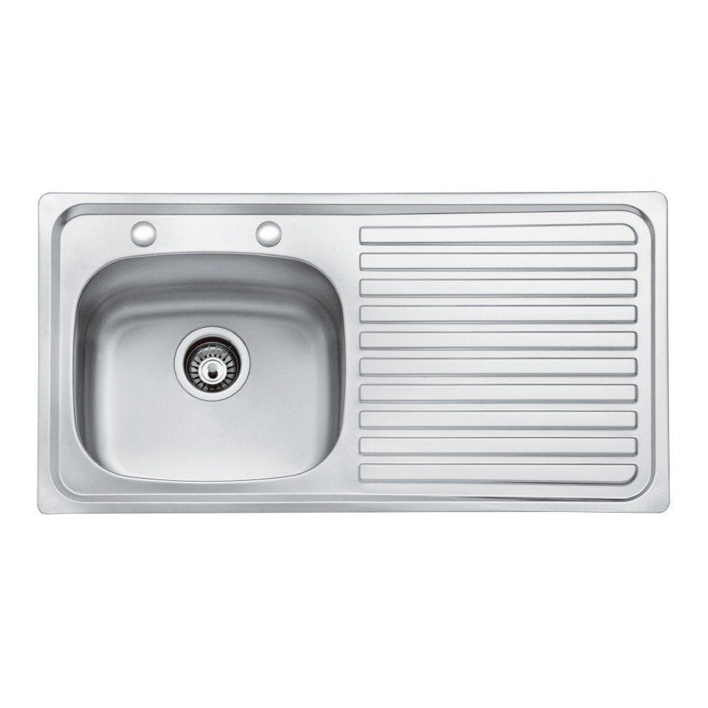 Excellent Bristan Inox Sink Top 2 Tap Hole 1 Bowl Round Steel 930Mm Right Hand Home Interior And Landscaping Palasignezvosmurscom