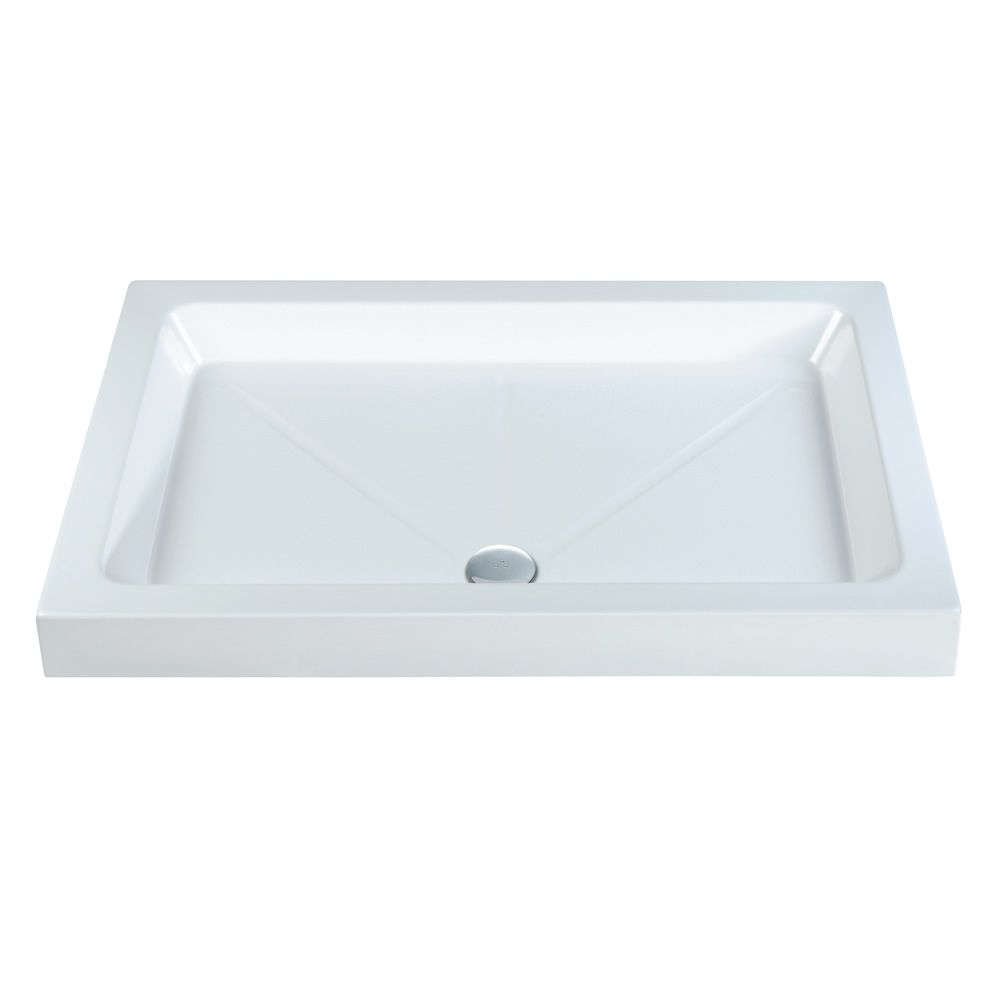 1400 x 900mm White High Wall Stone Resin Rectangle Deep Shower Tray /& Waste