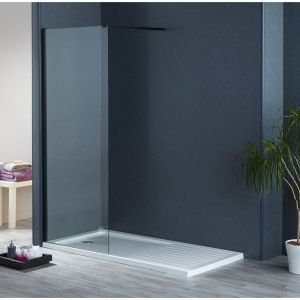 Aqua-I8 Black Wetroom Screen Panel 1200mm x 1900mm High