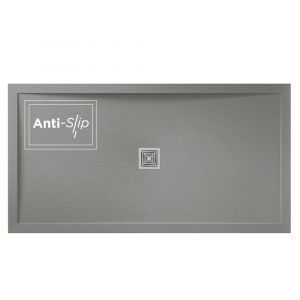 Grey Aqualavo Anti-Slip 1200mm x 700mm Slate Effect Shower Tray