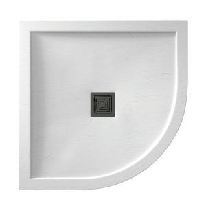 White Aqualavo 800mm x 800mm Quadrant Slate Effect Shower Tray
