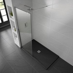 Black Aqualavo Anti-Slip 1100mm x 800mm Slate Effect Shower Tray