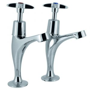 Pair Roma Cross Top High Neck Sink Taps
