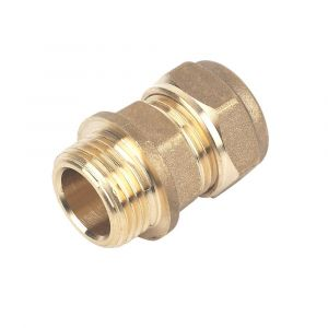 Brass Compression Male Iron Coupler 15mm x 3/4