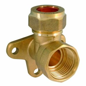 Brass Compression Wall Plate Elbow 15mm x 1/2