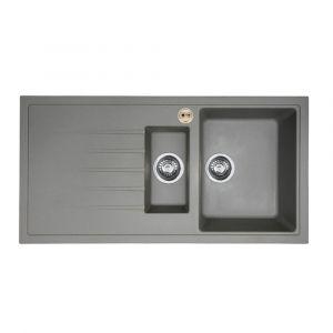 Bristan Gallery Quartz Sink 1.5 Bowl 1000mm Dawn Grey Left Hand