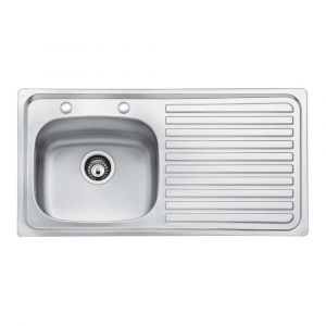 Bristan Inox Sink Top 2 Tap Hole 1 Bowl Round Steel 930mm Right Hand