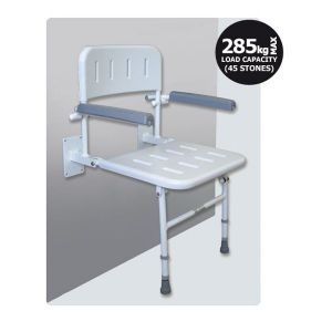 Contour Wall Fixed Shower Seat with Back & Arm Rests