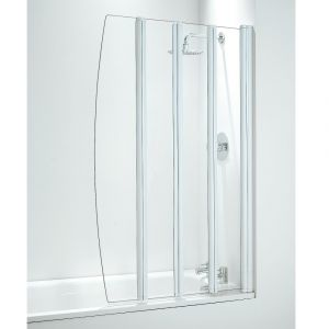 Coram 865mm Four Panel Folding Bathscreen - White