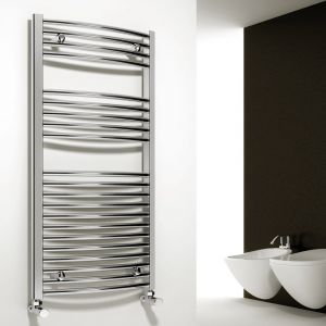 Diva Electric Chrome Flat 1200mm High x 450mm Wide Towel Radiator - Thermostatic