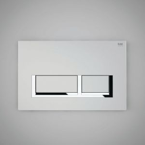 RAK Flush Plate With Polished Chrome Surrounding Rectangular Push Plates - Matt Chrome