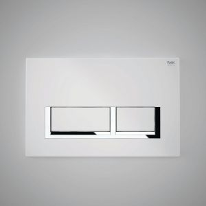 RAK Flush Plate With Polished Chrome Surrounding Rectangular Push Plates - White