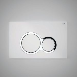 RAK Flush Plate With Polished Chrome Surrounding Round Push Plates - White